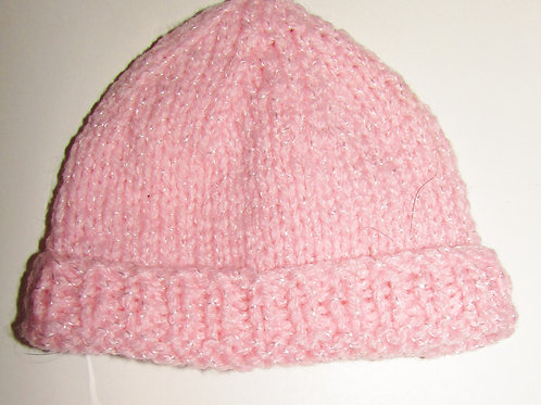 Handmade knit hat pink size SP