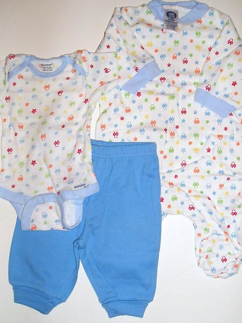 Gerber 3 pc set blue/white/stripes/cars Newborn