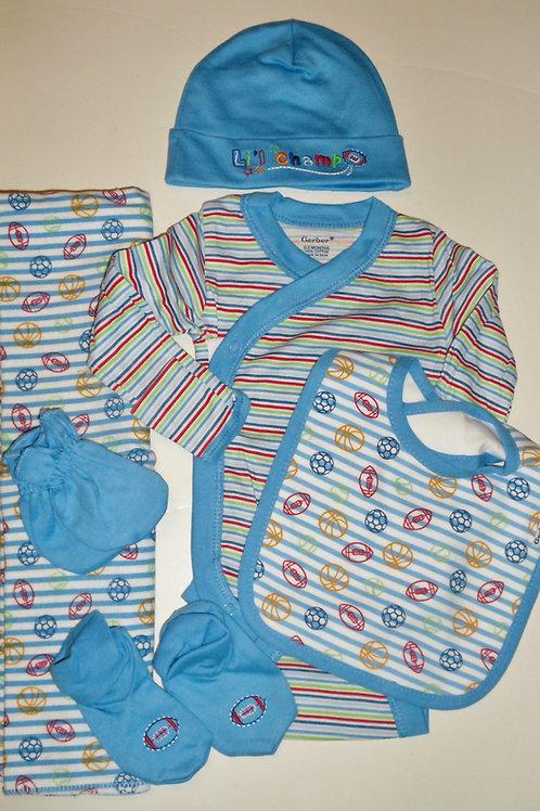 Gerber 6 pc set blue/stripes/sport Newborn