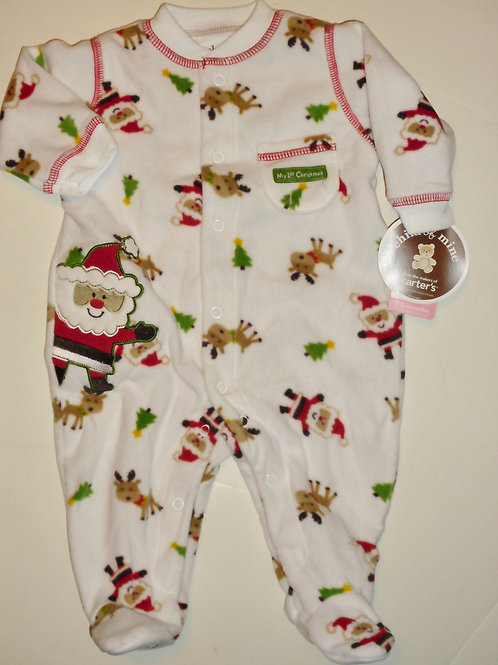Child of Mine flc sleeper white/Santa size 0-3 mo