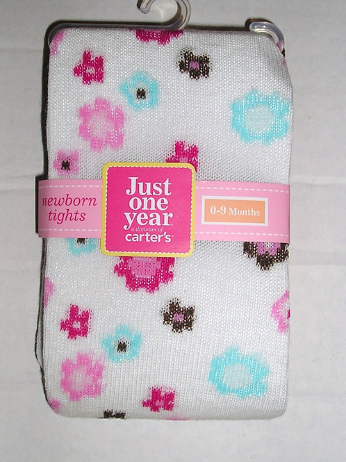 Just One Year tights white/floral 0-9 mo