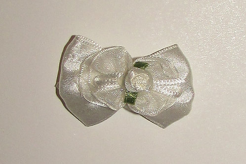 Faded Glory hair clip white bow w/rosette