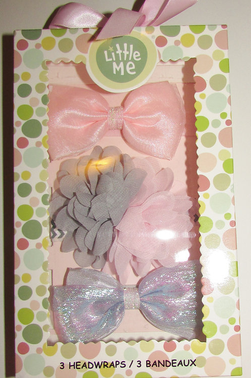 Little Me 3 headbands pink/gray gift boxed