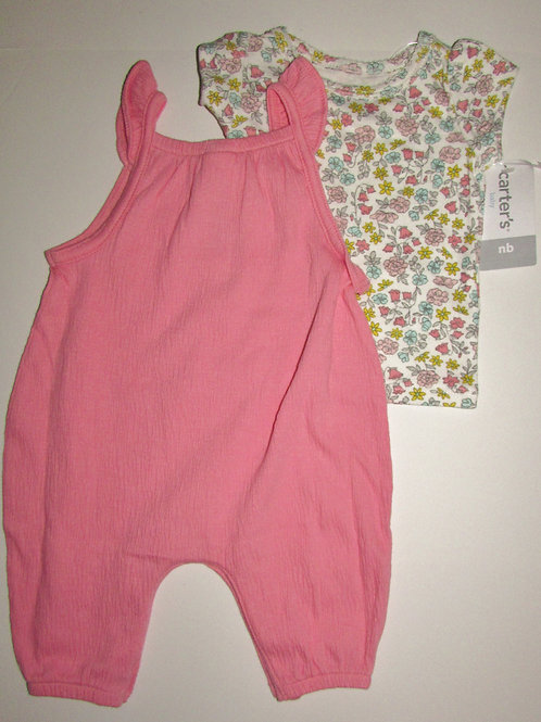 Carters 2 pc set pink/floral size N