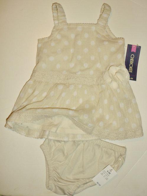 Cherokee dress tan/dots 0-3 mos