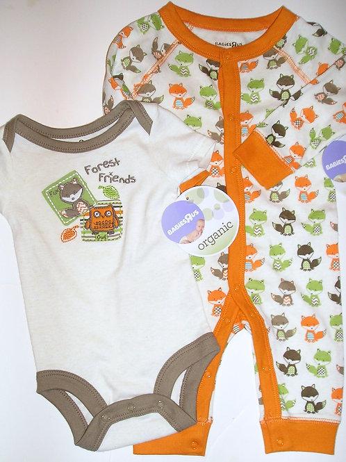 Babies R Us organic 2 pc set fox 3 mos