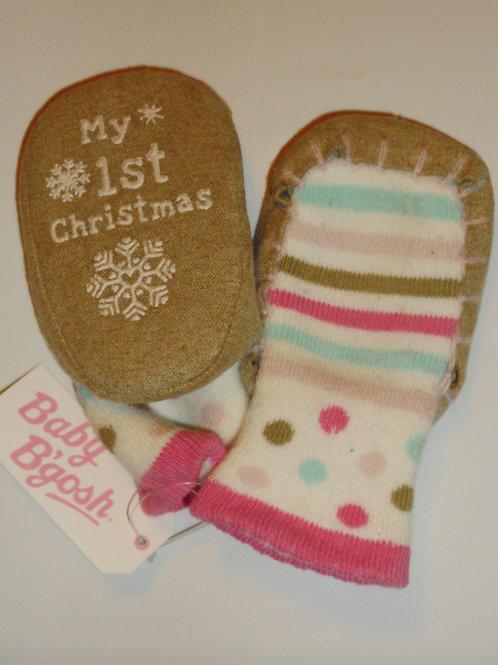 Baby B'Gosh knit slipper socks white/stripes LN