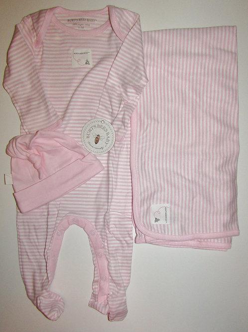Burt's Bees pink/white size 0-3