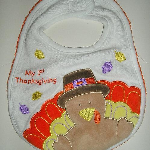 Carters terry bib white/turkey