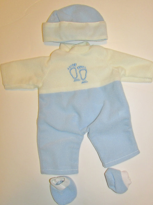 doll outfit 3 pc velour set white/blue/foot print