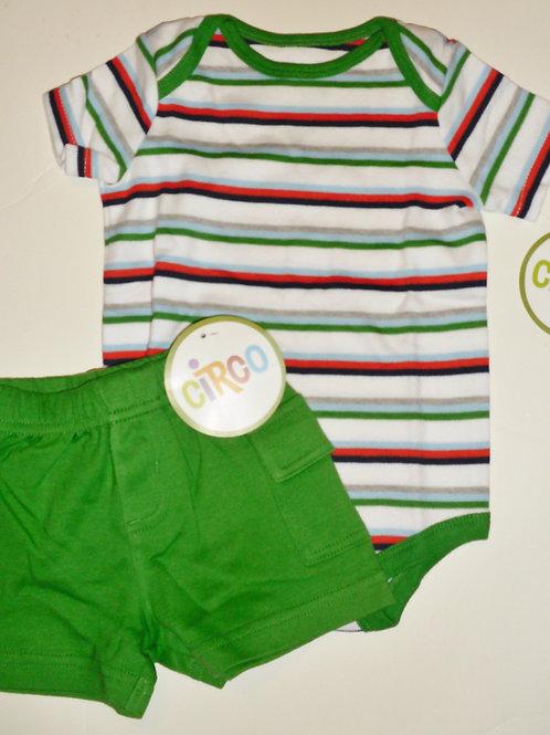 Circo 2 pc set green/stripes Newborn