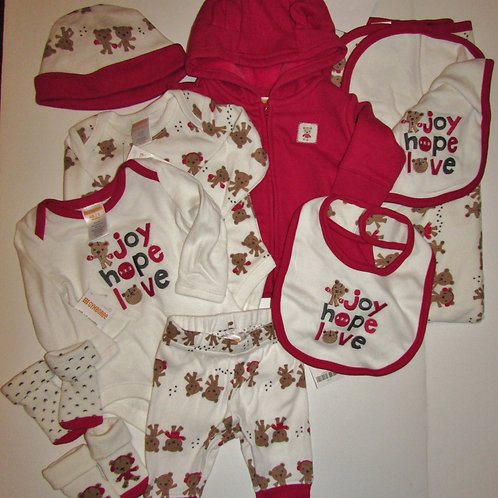 Gymboree 9 pc set red/white/bears size N