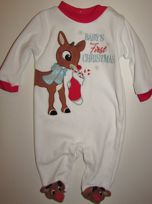 Rudolph sleeper flc white/red size 3 mo