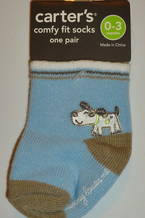 Carters socks blue/dog size 0-3 mos