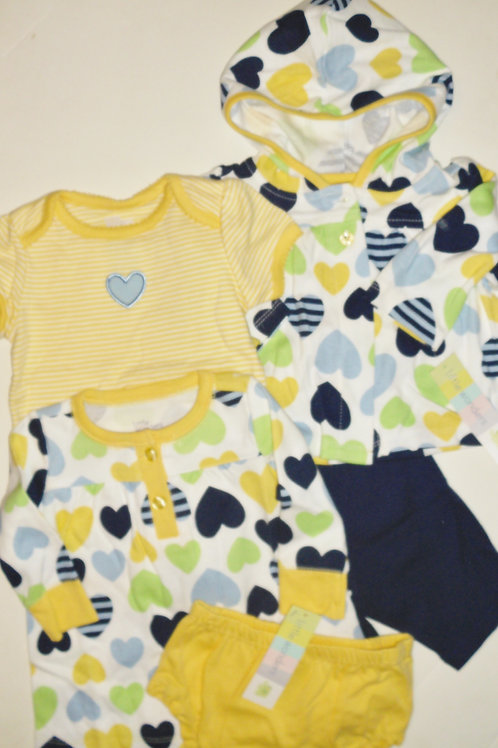 Little Wonders 5 pc set wt/hearts 0-3 months
