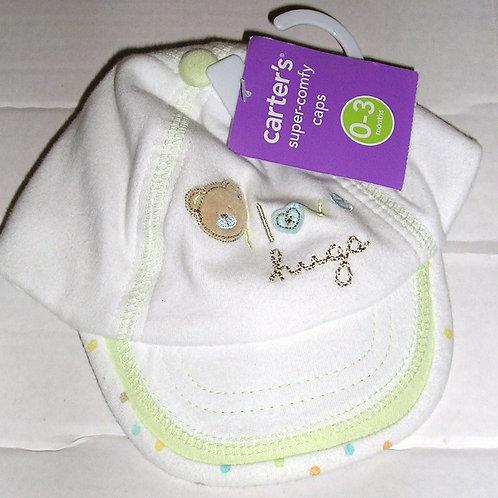 Carters soft cap white/green/bear 0-3 months