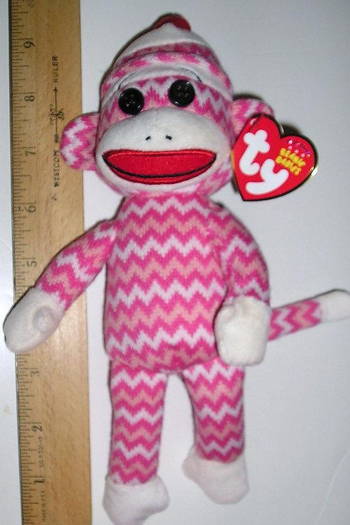 TY knit sock monkey pink
