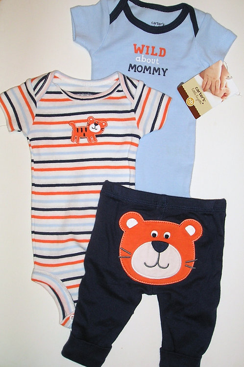 Carters 3 pc set blue/navy/stripe tiger Newborn