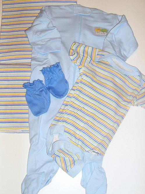 Gerber 4 pc set blue/stripe Newborn