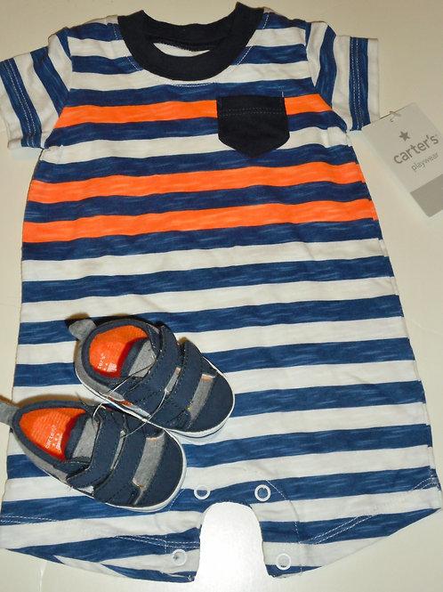 Carters 2 pc set navy/orange/stripe Newborn