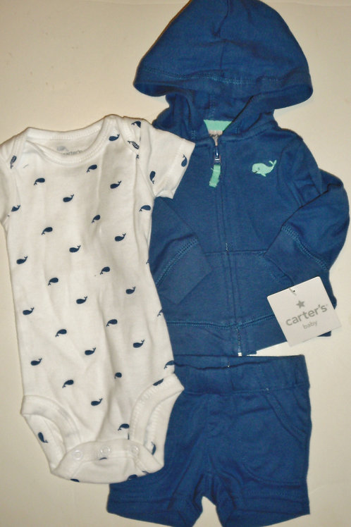 Carters 3 pc set whales size N