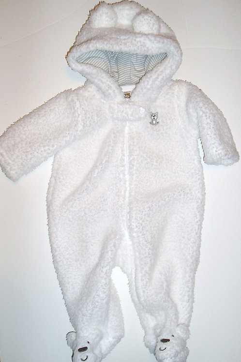 Carters fleece pram suit white Newborn