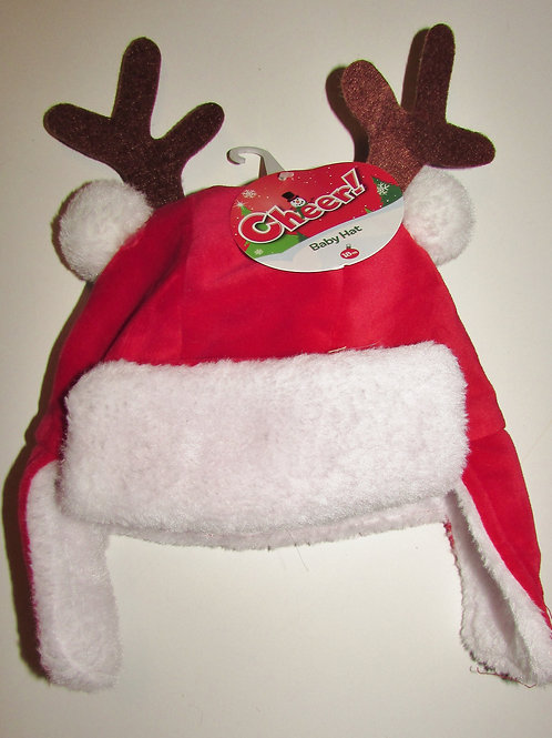 Cheer Baby fleece hat red/white/antlers size 18 mo (runs small)
