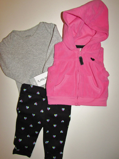 Carters gray/pink/black size N