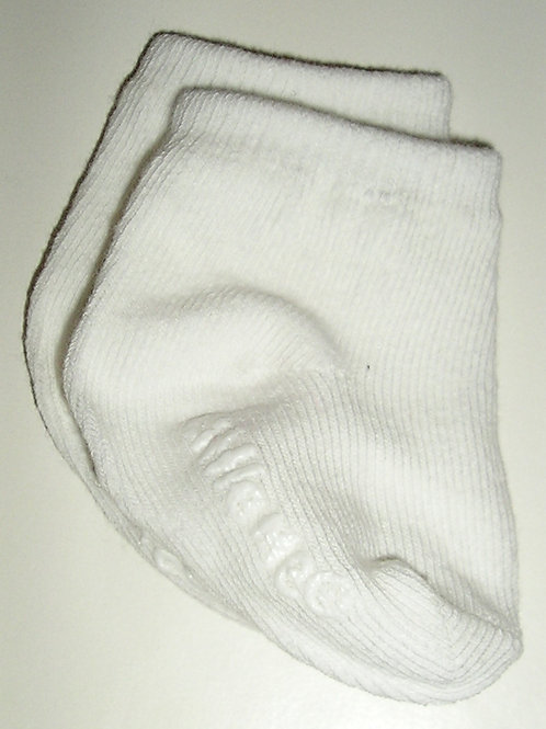 Little Me no slip socks white size 0-3 mo