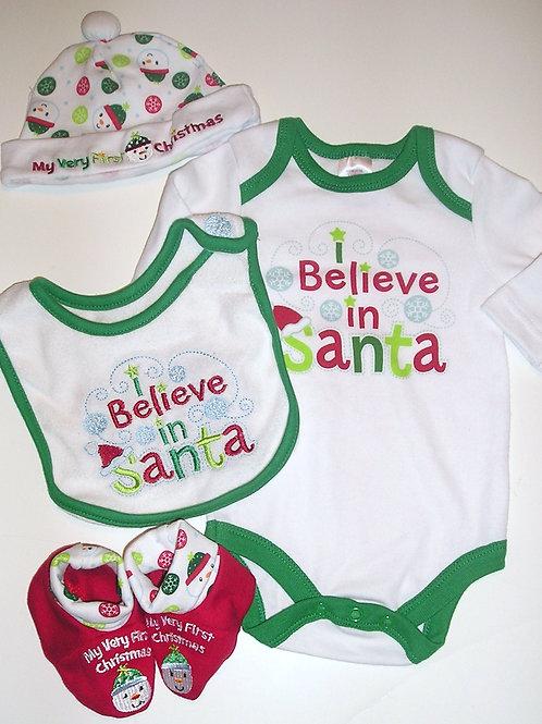 Holiday Time 4 pc set Santa motif size 0-3 mo