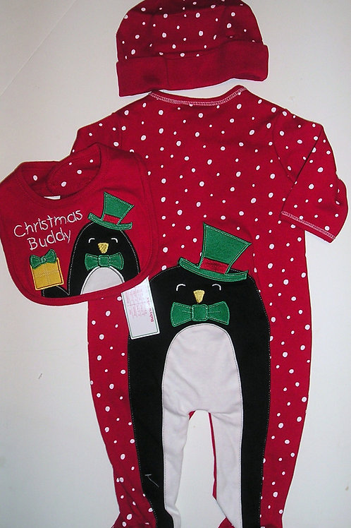 Baby Works 3 pc set red/dots/penguin size 0-3