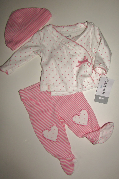 Carts 3 pc set white/pink size P