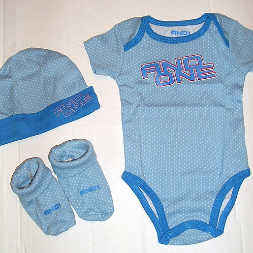 And 1 3 pc set blue/dots 0-3 mos