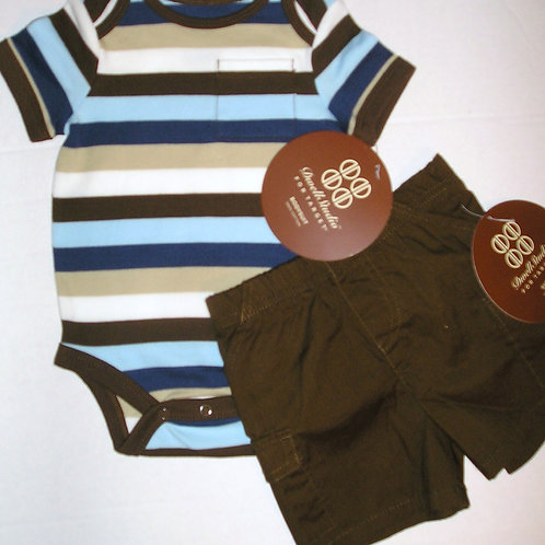 Divell Studios 2 pc set brown/stripe Newborn