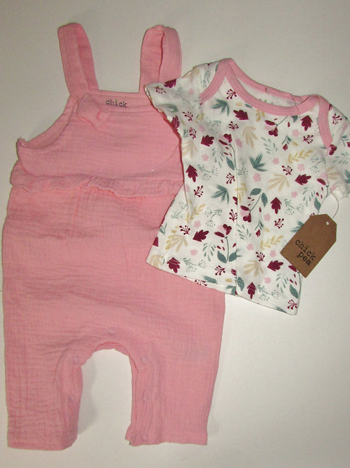 Chick Pea 2 pc set pink/floral size 0-3 mo