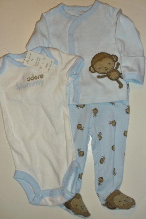 Just One You 3 pc set blue/monkey Newborn