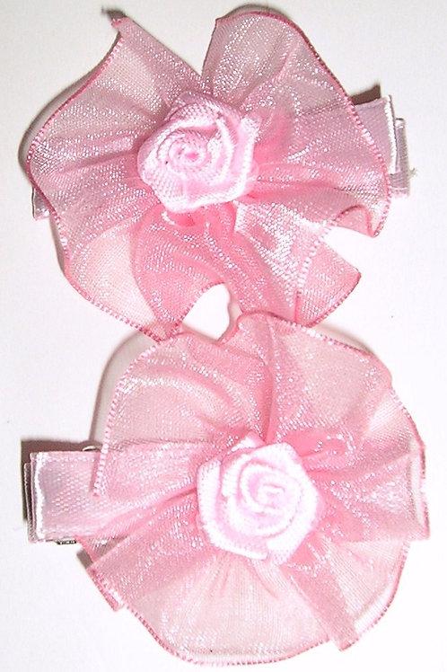 Gold Bug 2 pc barrette/lace floral pink