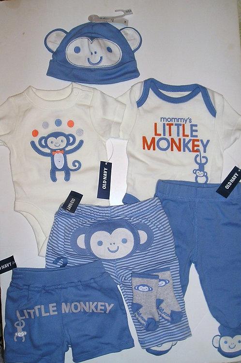 Old Navy 7 pc set blue/white/monkey 0-3 mos