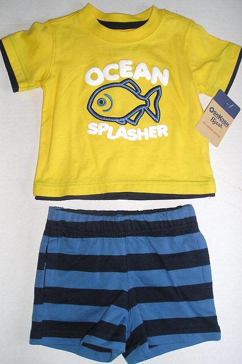 Baby B Gosh 2 pc set yellow/blue/fish 0-3 mos