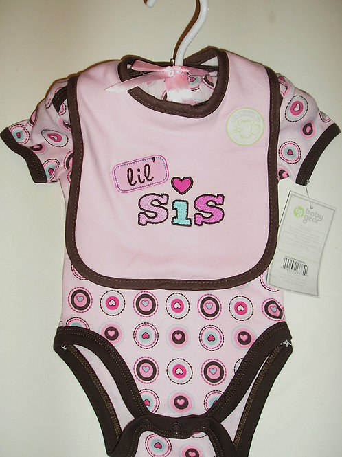 Baby Gear 3 pc set pink/brown/hearts 0-3 mos