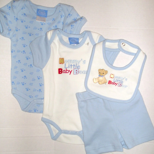 Precious Moments 4 pc set blue/white/bear Newborn