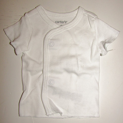 Carters snap front tee white size P
