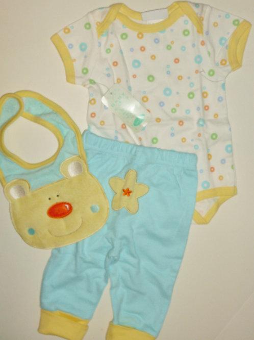 Bon Bebe 3 pc set aqua/yellow/bear 0-3 months