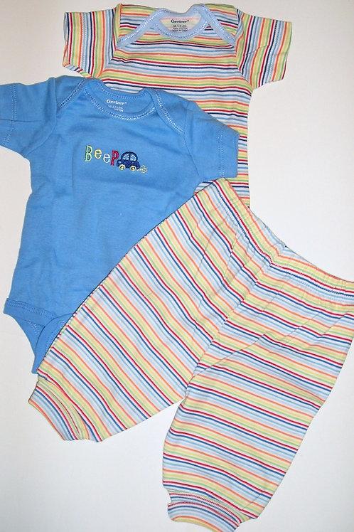 Gerber 3 pc set stripes/blue/car Newborn