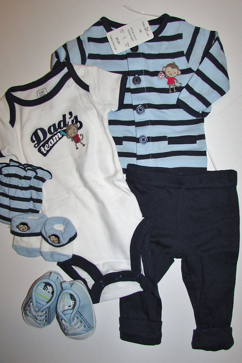 Just One You 6 pc set blue/white monk size newborn