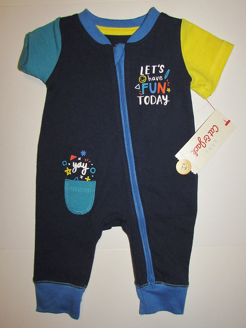 Cat & Jack coverall navy/yellow/blue fun motif size N