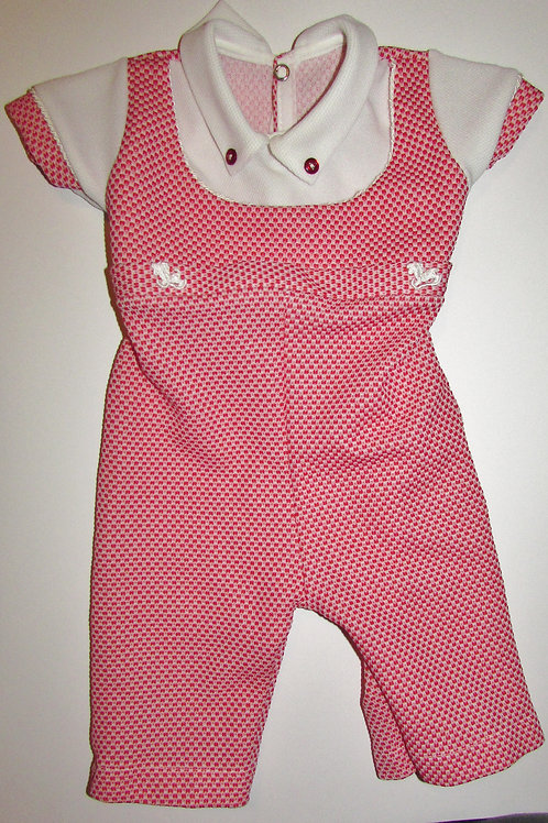 Unknown vintage coverall red/white size 0-3 mos