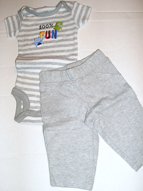 Just One You 2 pc set gray/stripe/monster Newborn
