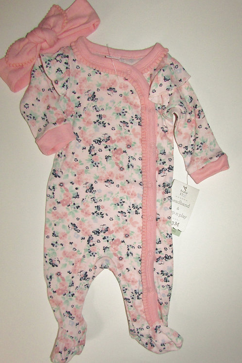 Baby Kiss 2 pc sleeper set floral size 0-3 mo