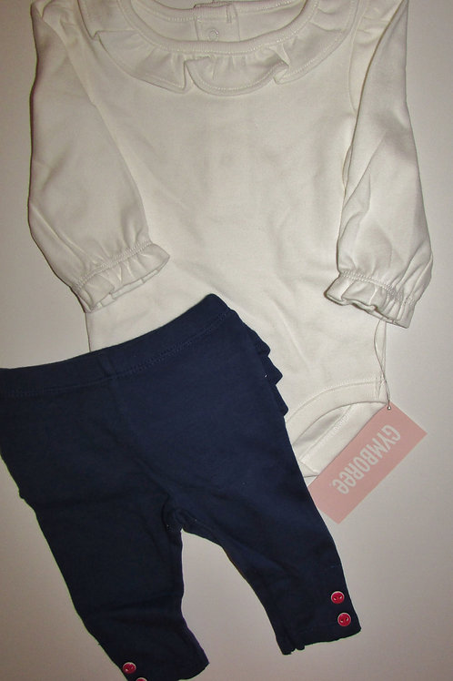 Gymboree white/navy size 0-3